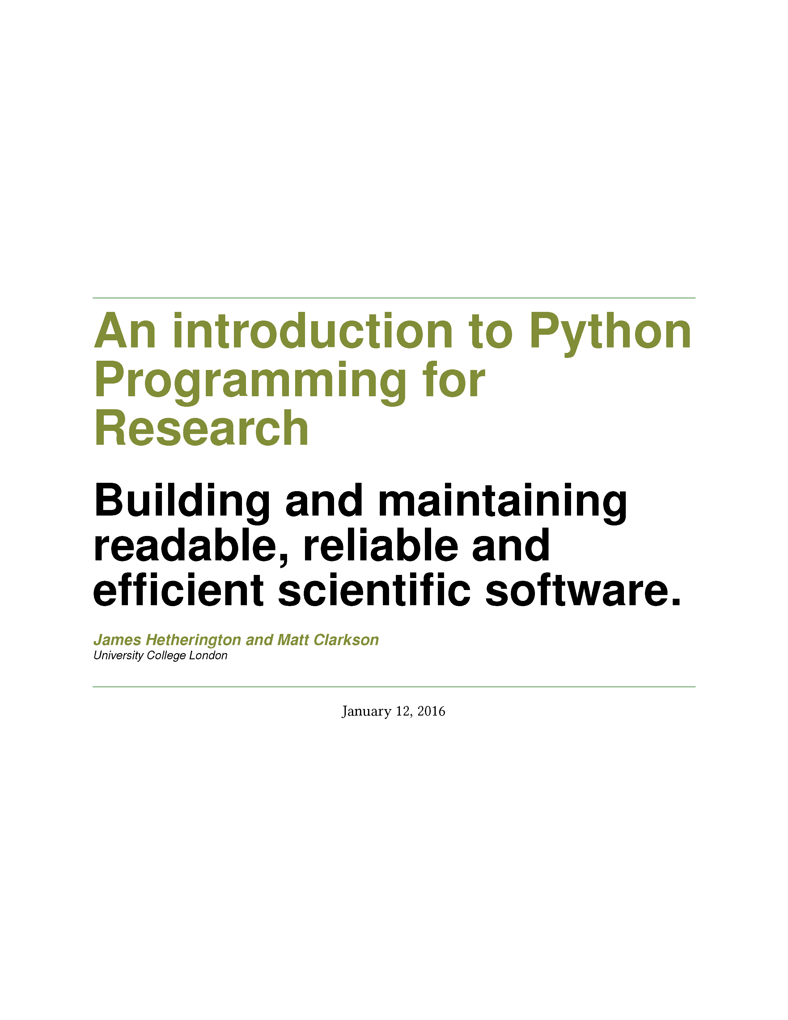 An introduction to Python Programming for Research
