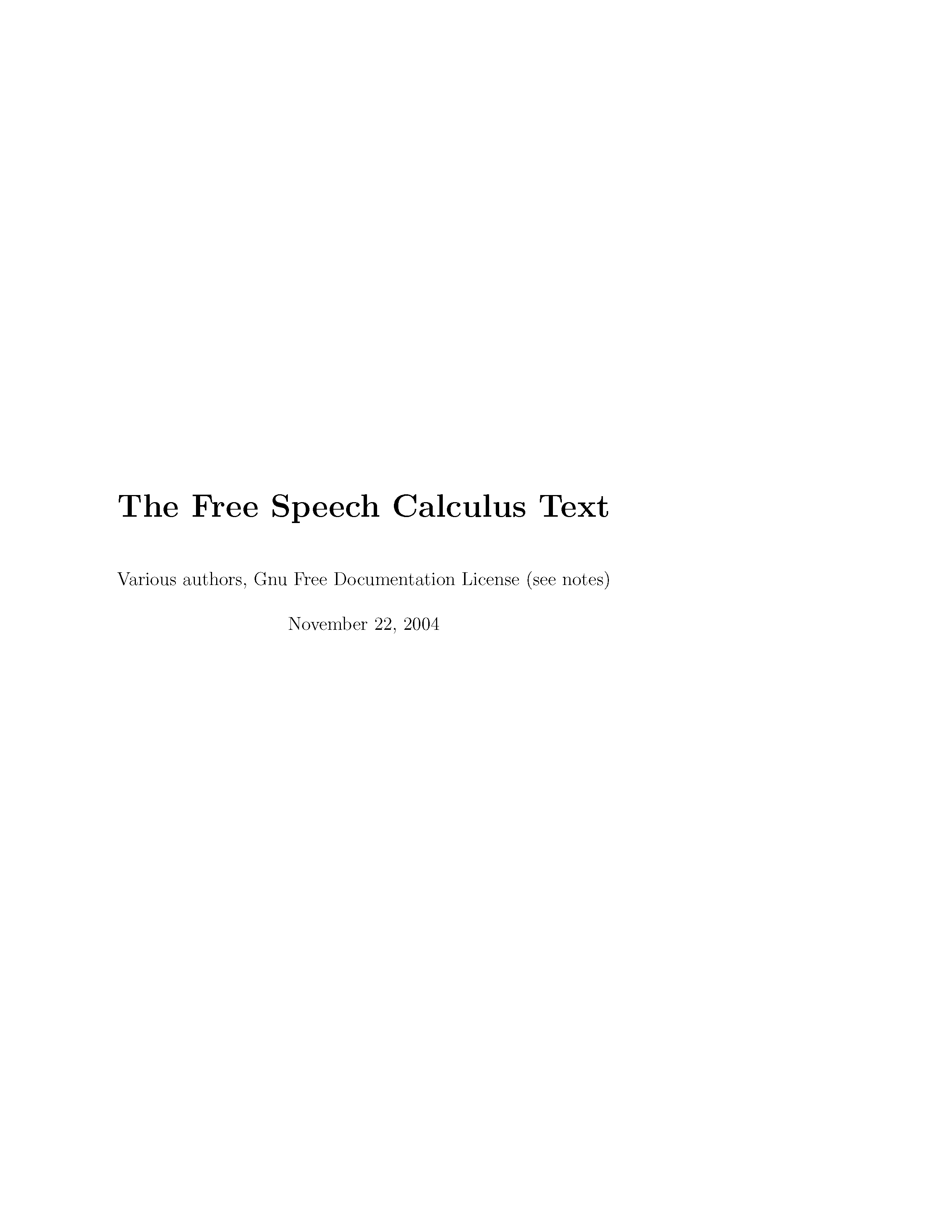 The Free Speech Calculus Text