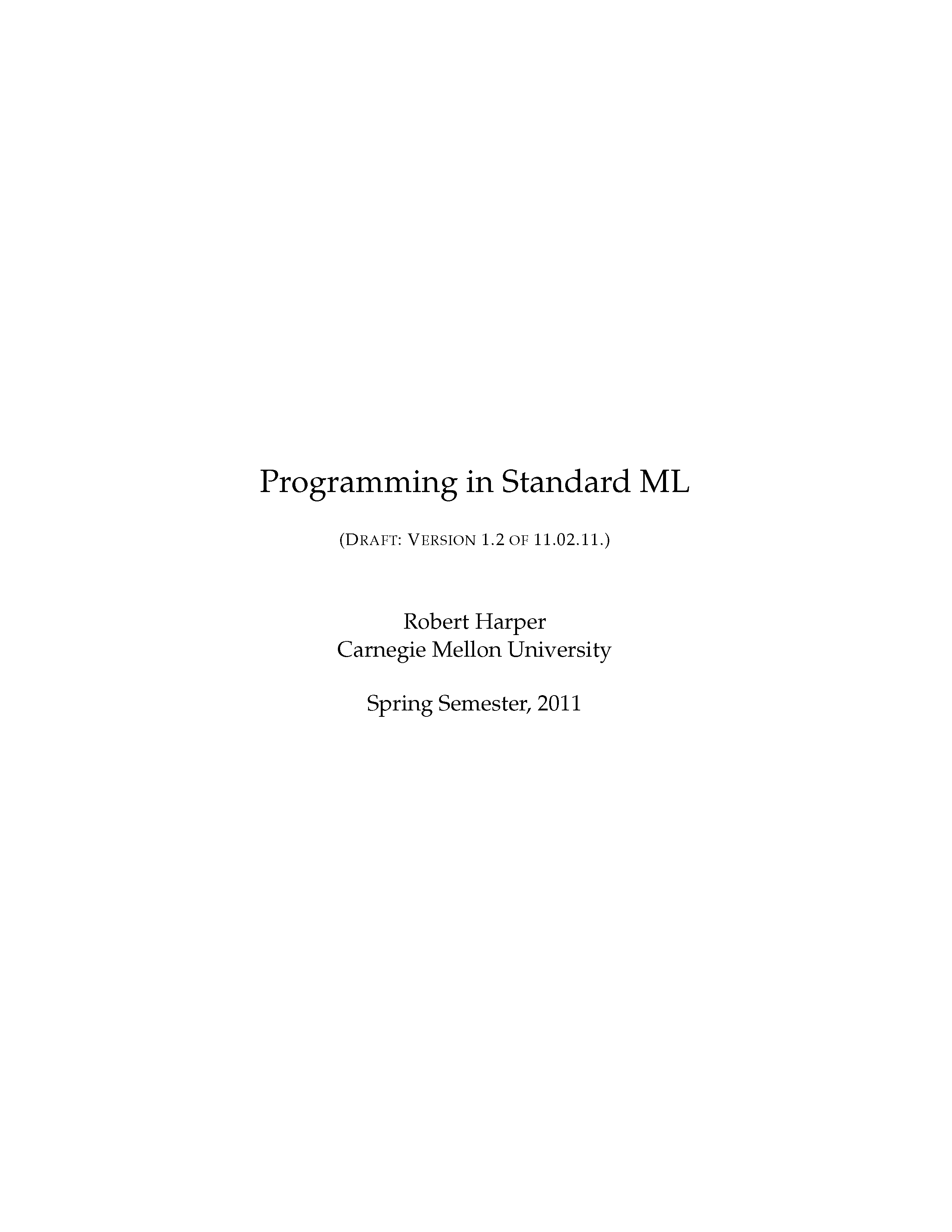 Programming in Standard ML