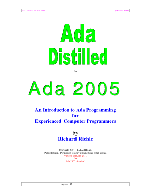 Ada Distilled for Ada 2005: An Introduction to Ada Programming for Experienced Computer Programmers