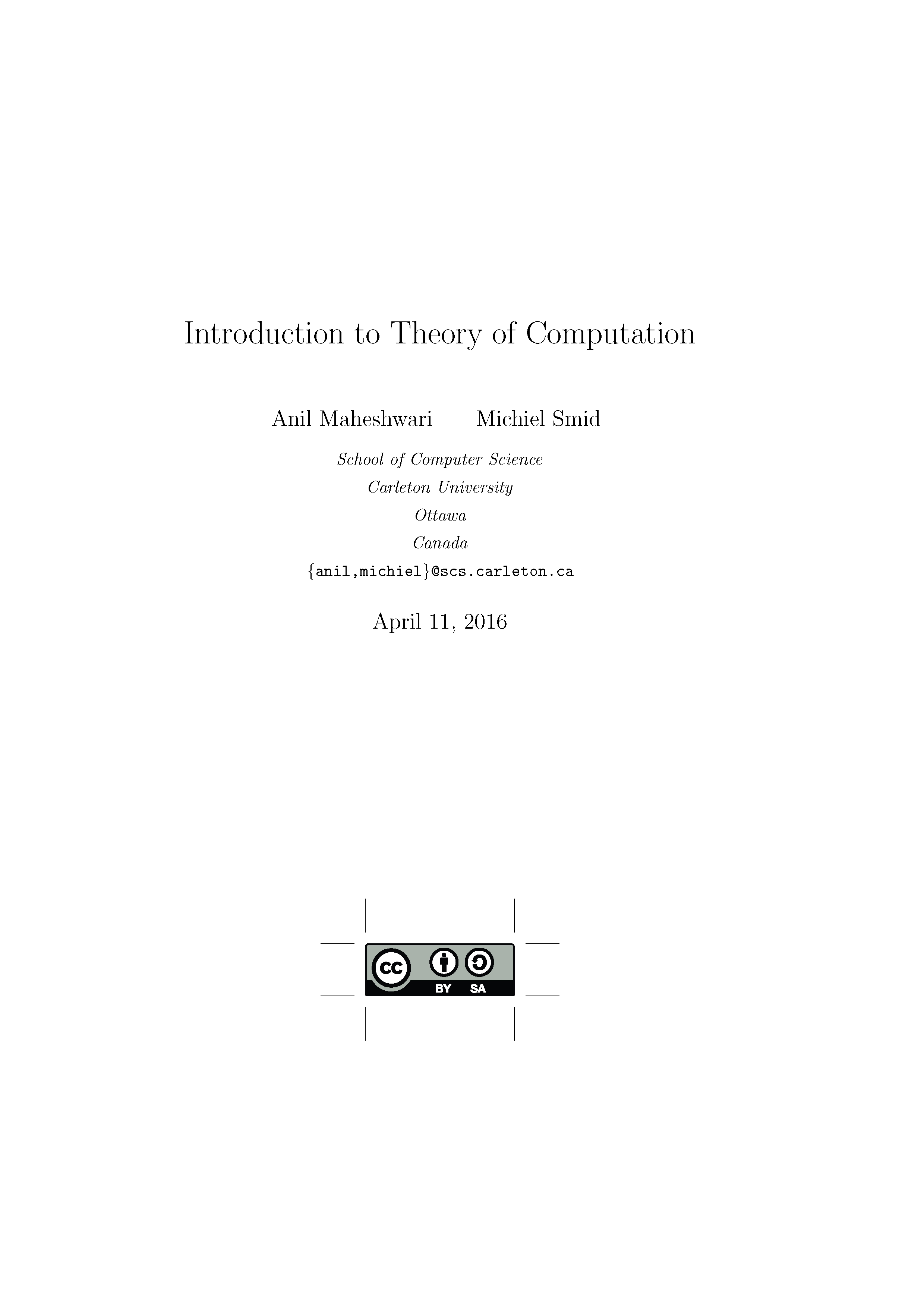 Introduction to Theory of Computation