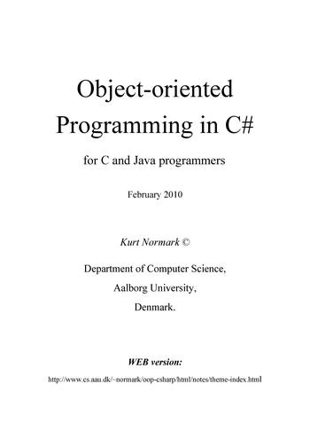 Object-oriented Programming in C# - for C and Java programmers