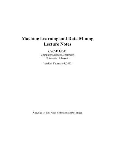 Machine Learning and Data Mining Lecture Notes