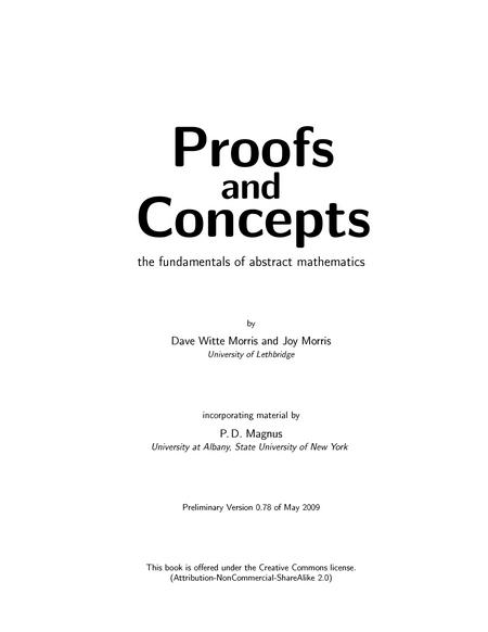 Proofs and Concepts: The Fundamentals of Abstract Mathematics