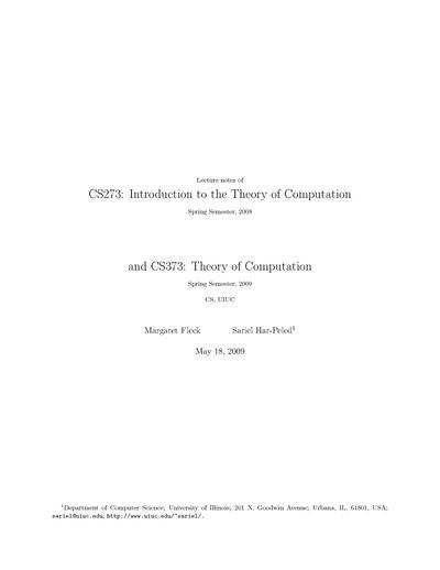 CS 373: Introduction to Theory of Computation