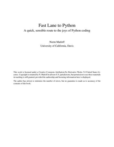 Fast Lane to Python: A Quick, Sensible Route to the Joys of Python Coding