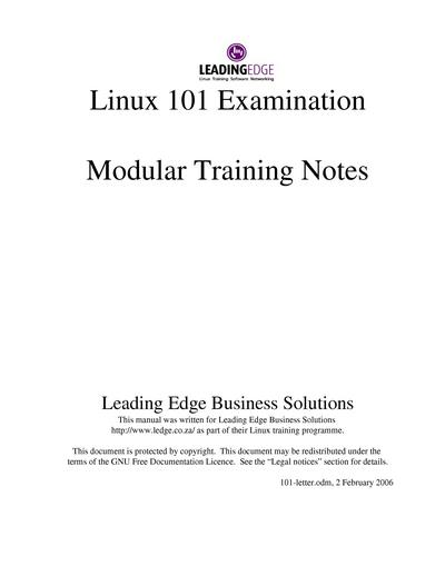 Linux 101 Examination Modular Training Notes