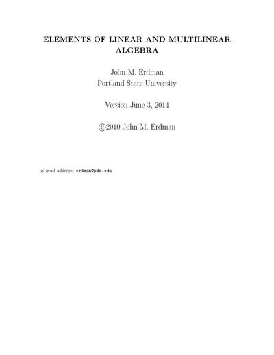 [No longer freely accessible] Elements of Linear and Multilinear Algebra