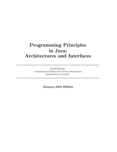 Programming Principles in Java: Architectures and Interfaces