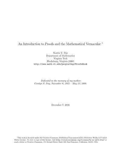 An Introduction to Proofs and the Mathematical Vernacular