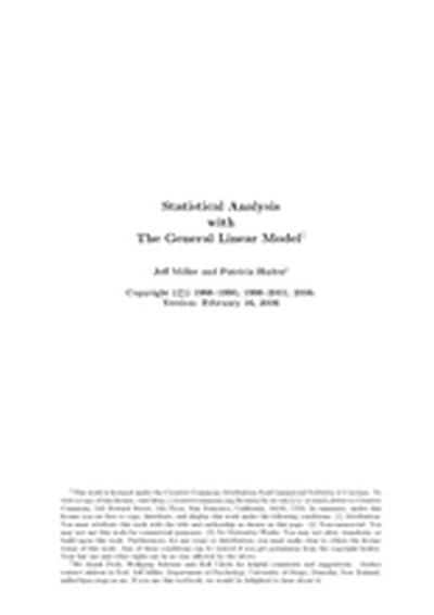 Statistical Analysis with The General Linear Model
