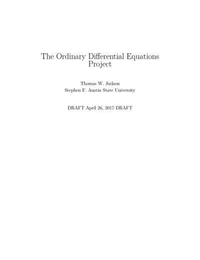 The Ordinary Differential Equations Project